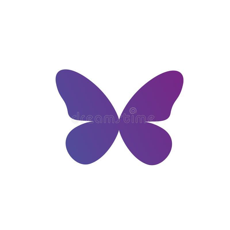 Icono púrpura del logotipo de la mariposa de la pendiente Ilustración del vector aislada en el fondo blanco Limpie el diseño stock de ilustración
