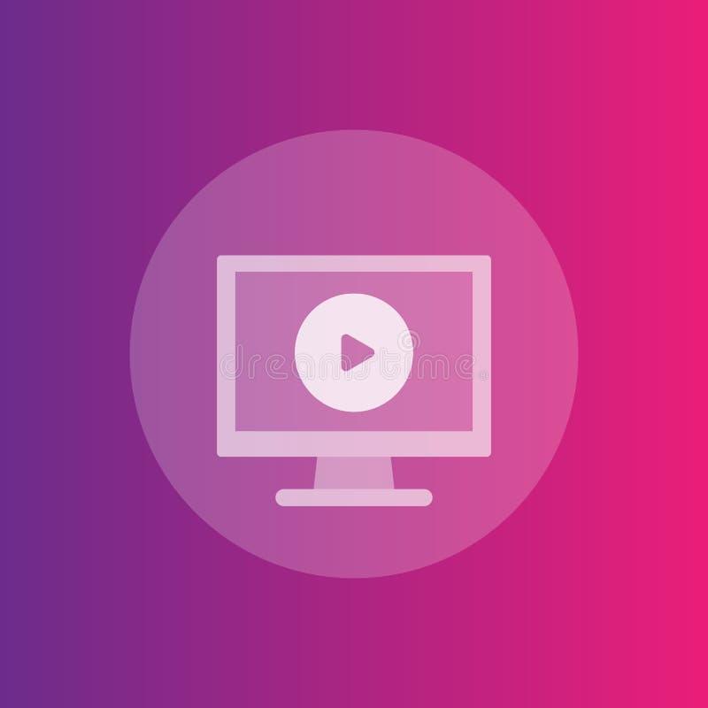 Icono, pantalla de ordenador y botón de reproducción video del juego stock de ilustración