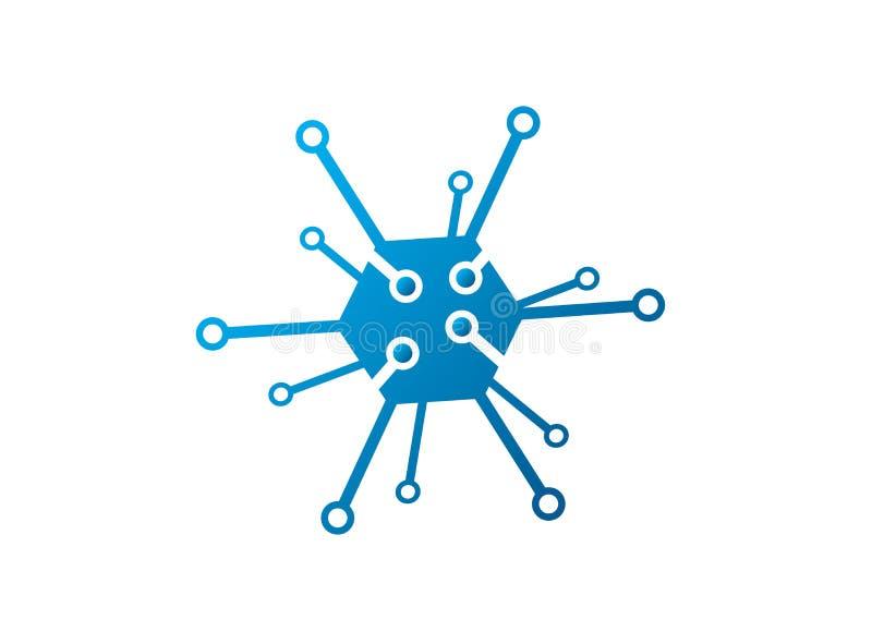 Icono para el ilustrador del diseño del logotipo, símbolo de alta tecnología del hexágono de la tecnología stock de ilustración