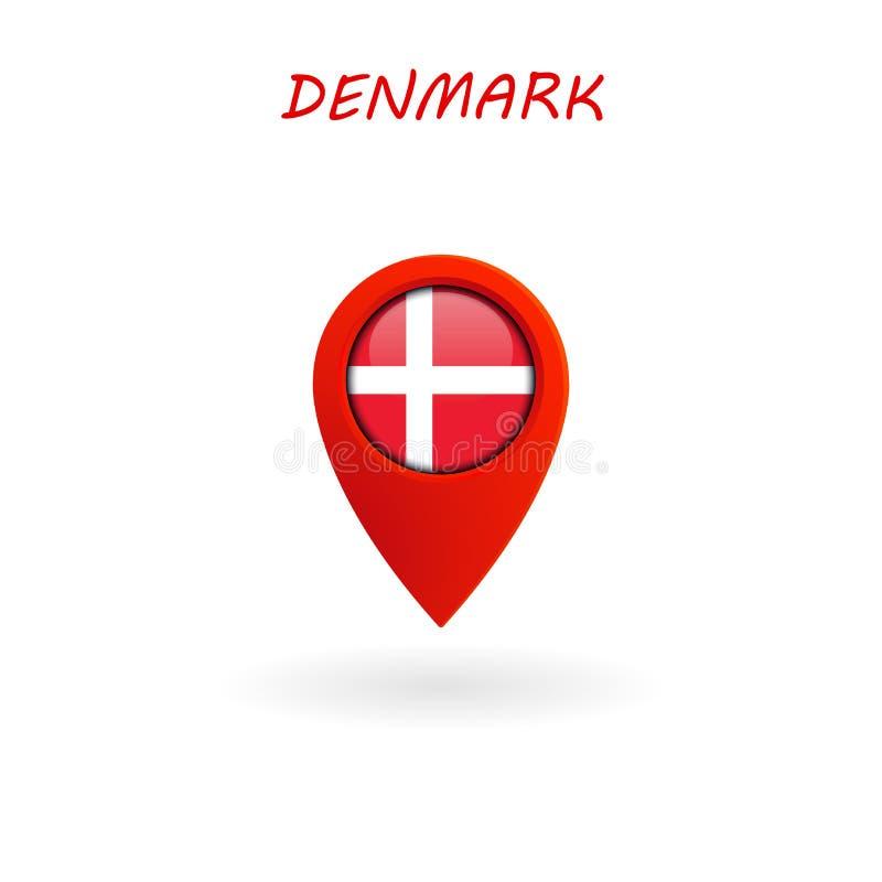 Icono para la bandera de Dinamarca, vector de la ubicación stock de ilustración