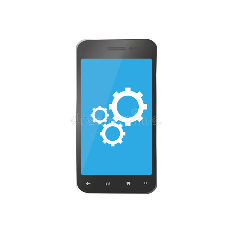 Icono para los smartphones de la reparación Recambios del teléfono para las reparaciones ilustración del vector