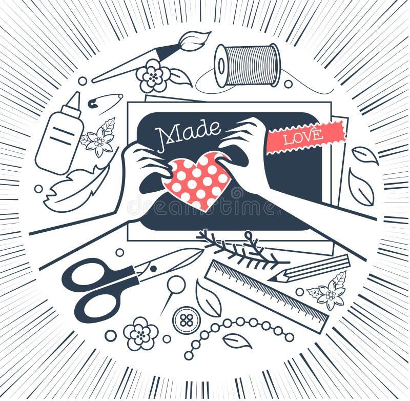 Icono para scrapbooking de la creatividad blanco y negro stock de ilustración