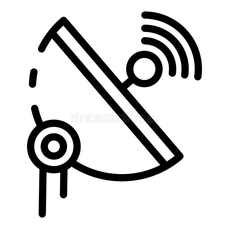 icono parabólico de la antena 5G, estilo del esquema stock de ilustración