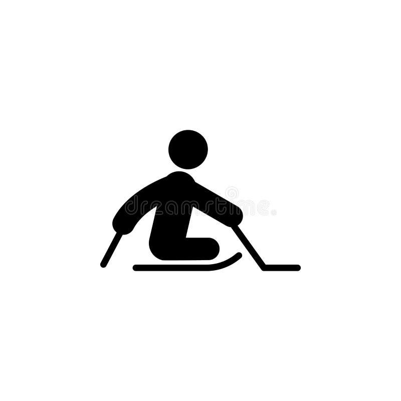 icono paralympic del hockey del trineo del hielo Elemento del ser humano discapacitado en el icono del deporte para el app móvil  ilustración del vector