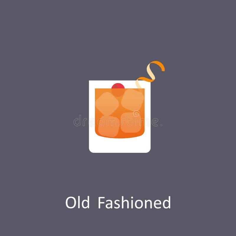 Icono pasado de moda del cóctel en fondo oscuro en estilo plano stock de ilustración