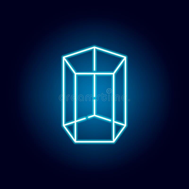 icono pentagonal de la prisma en el estilo de ne?n Figura geom?trica elemento para los apps m?viles del concepto y del web L?nea  stock de ilustración