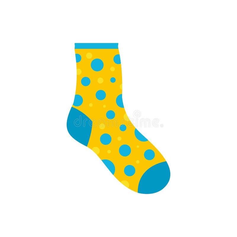 Icono perdido del calcetín, estilo plano ilustración del vector