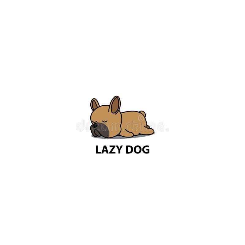 Icono perezoso del perro, perrito marrón lindo que duerme, diseño del dogo francés del logotipo stock de ilustración