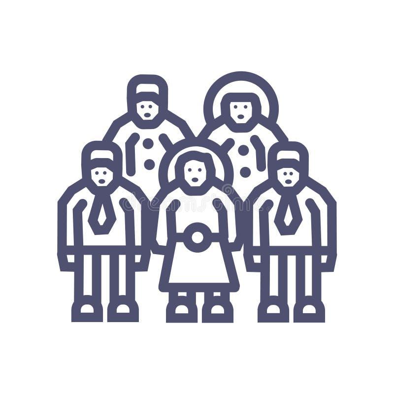 Icono perfecto perfecto del pixel del vector 64X64 del grupo o del icono del equipo del negocio con vector del hombre y de la muj stock de ilustración