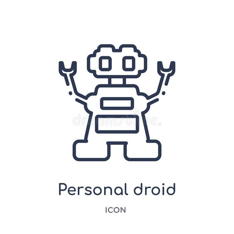 Icono personal linear del droid del intellegence artificial y de la colección futura del esquema de la tecnología Línea fina vect ilustración del vector