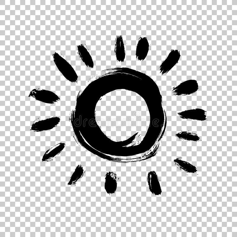 Icono pintado del sol Elemento del diseño del Grunge para el sitio web de la previsión metereológica El cepillo frota ligeramente ilustración del vector