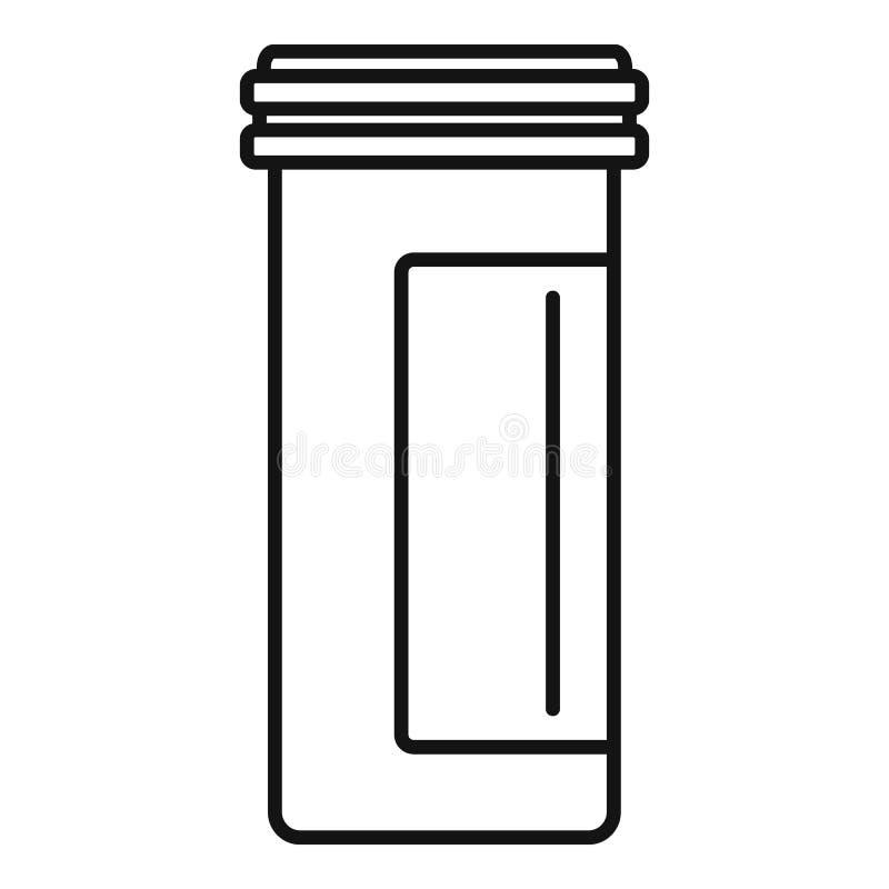 Icono plástico antibiótico del tarro, estilo del esquema stock de ilustración