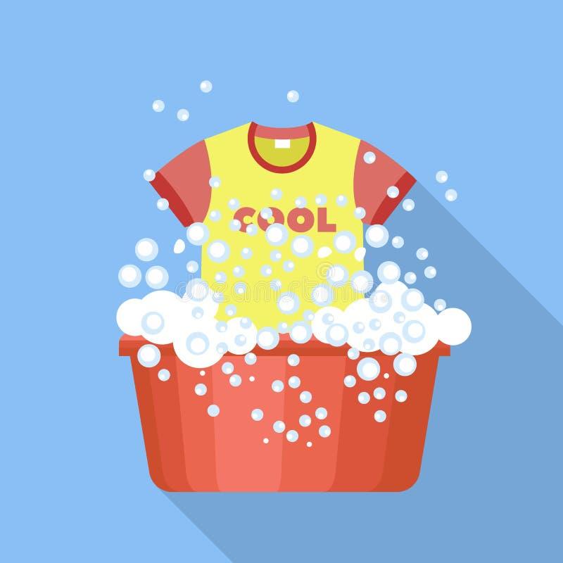 Icono plástico del lavabo del lavado de la camiseta, estilo plano libre illustration