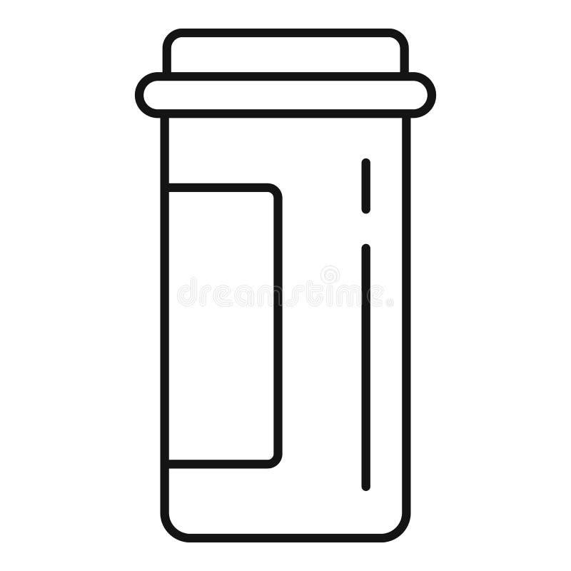 Icono plástico del tarro de la píldora, estilo del esquema ilustración del vector