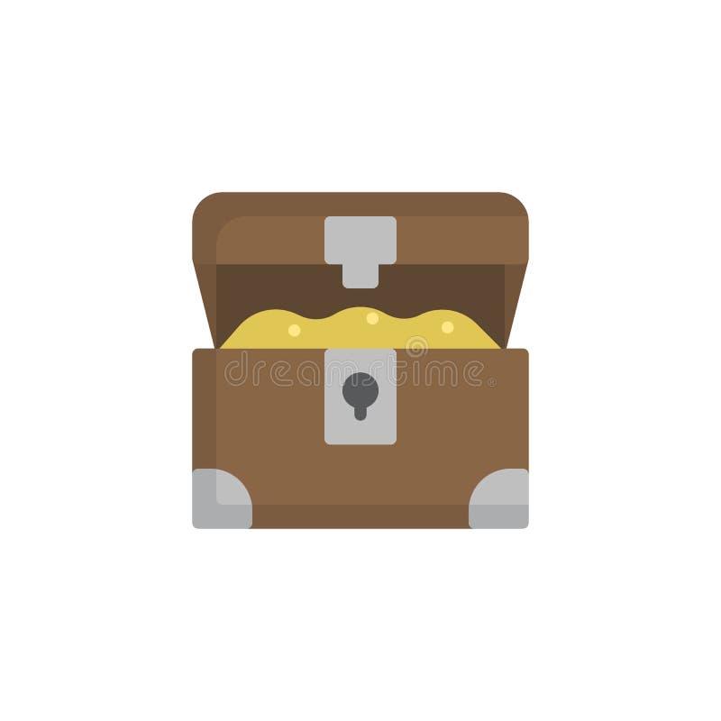 Icono plano abierto del cofre del tesoro ilustración del vector