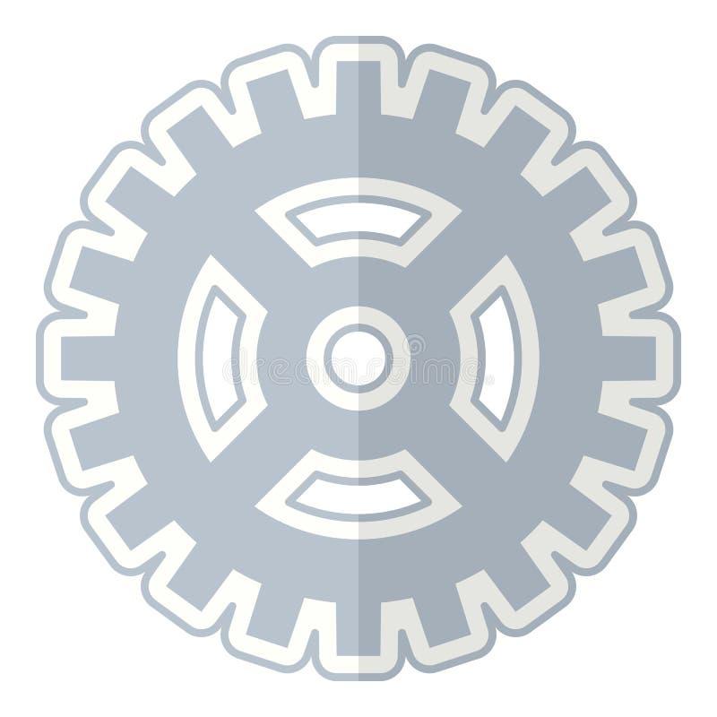 Icono plano abstracto de la rueda de engranaje en blanco ilustración del vector