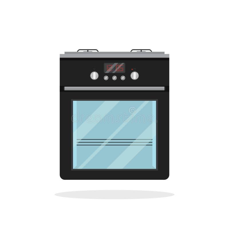 Icono plano aislado del vector de la estufa de cocina negra E Aparato para cocinar la comida Aparato electrodoméstico libre illustration