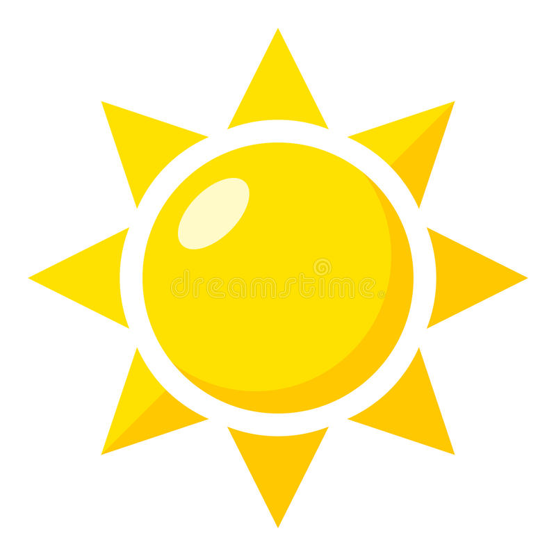 Icono plano amarillo de Sun aislado en blanco libre illustration