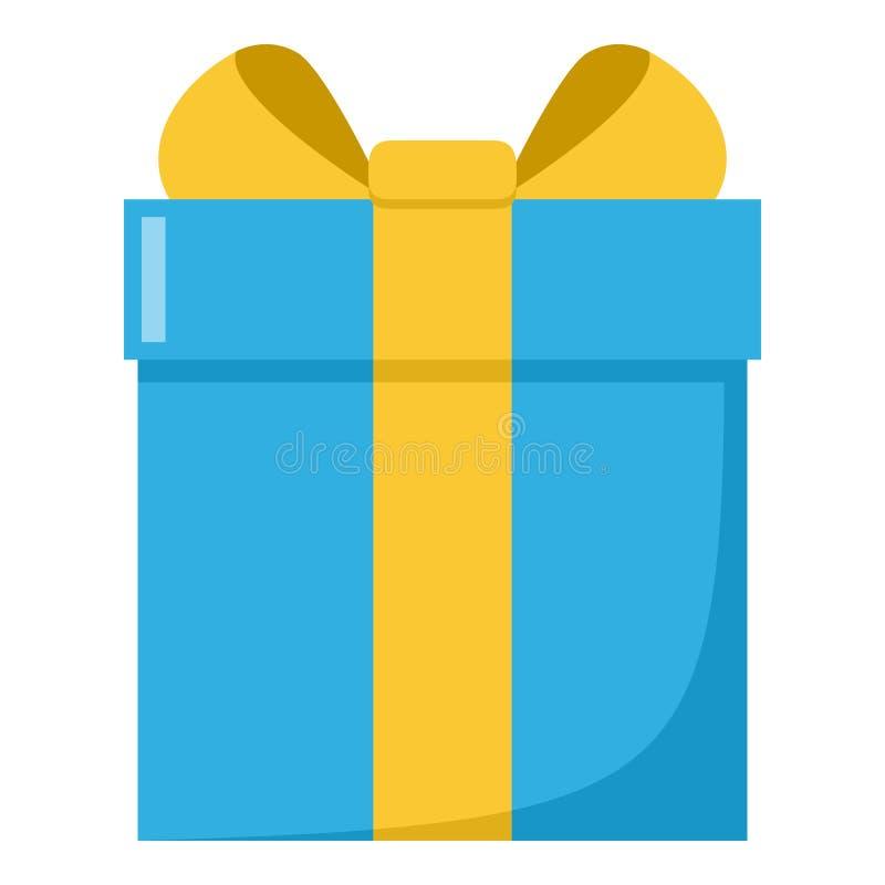 Icono plano azul de la caja de regalo aislado en blanco libre illustration