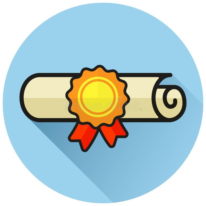 Icono plano azul del círculo del diploma stock de ilustración