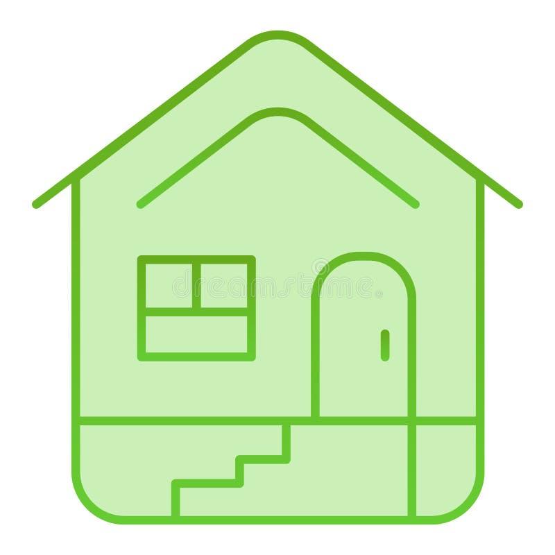 Icono plano casero Iconos del verde de la casa en estilo plano de moda Diseño constructivo del estilo de la pendiente, diseñado p ilustración del vector