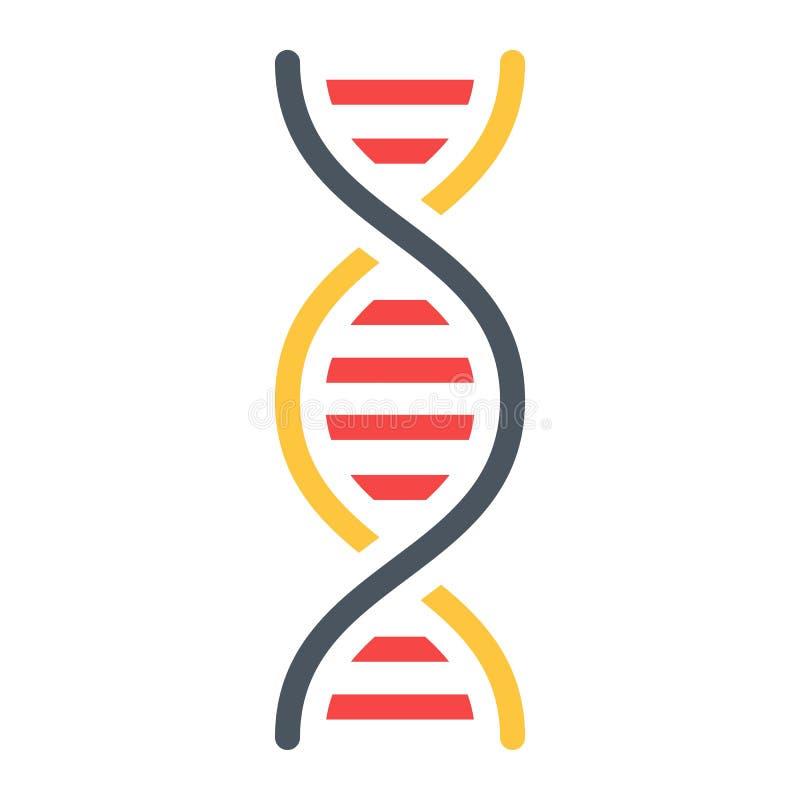 Icono plano, ciencia y biología de la DNA ilustración del vector