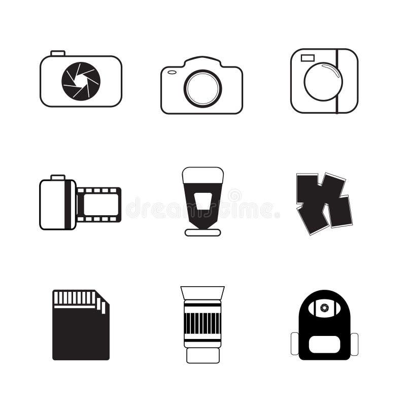 Icono plano, colección de la cámara en blanco y negro ilustración del vector