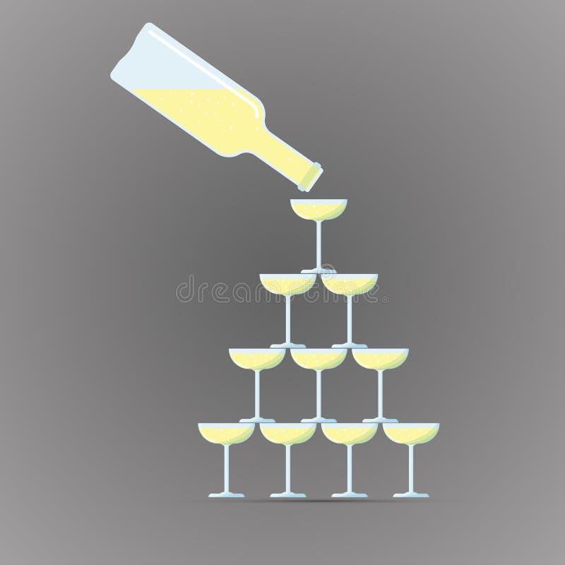 Icono plano coloreado, diseño del vector Botella con el vidrio de la torre del vino libre illustration