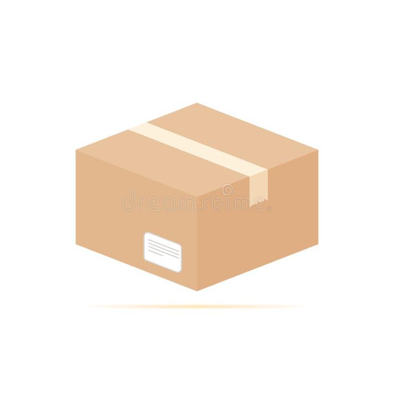 Icono plano coloreado, diseño del vector con la sombra Caja de cartón con la etiqueta y la cinta escocesa ilustración del vector