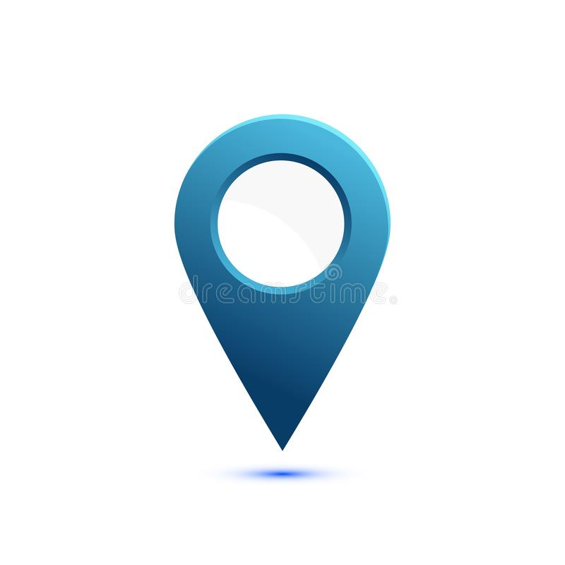 Icono plano coloreado, diseño del vector con la sombra Indicador del mapa con el círculo blanco para el texto Marcador simple libre illustration