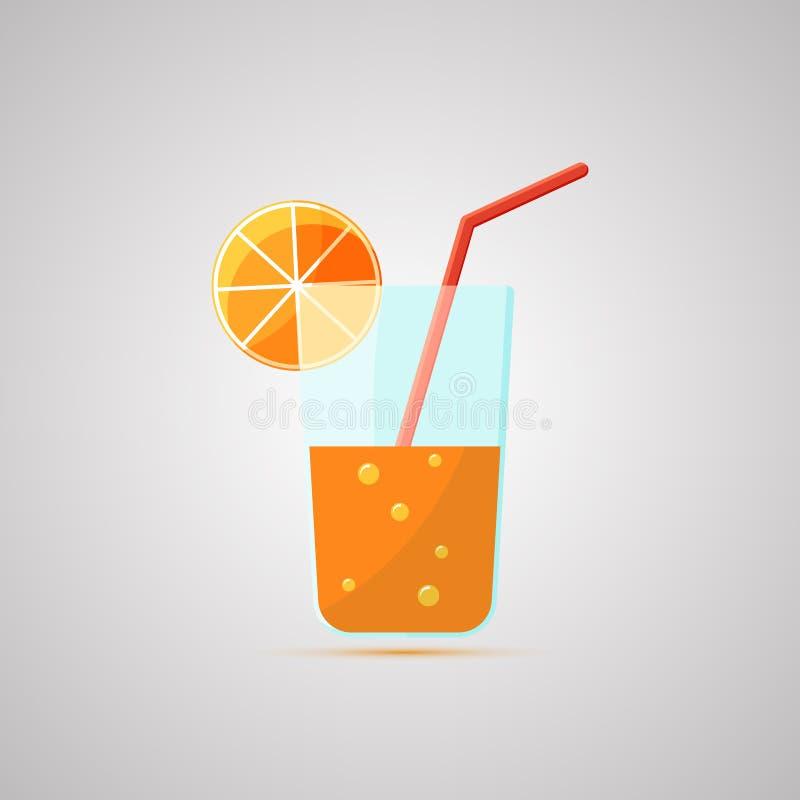 Icono plano coloreado, diseño del vector con la sombra Vidrio de jugo libre illustration