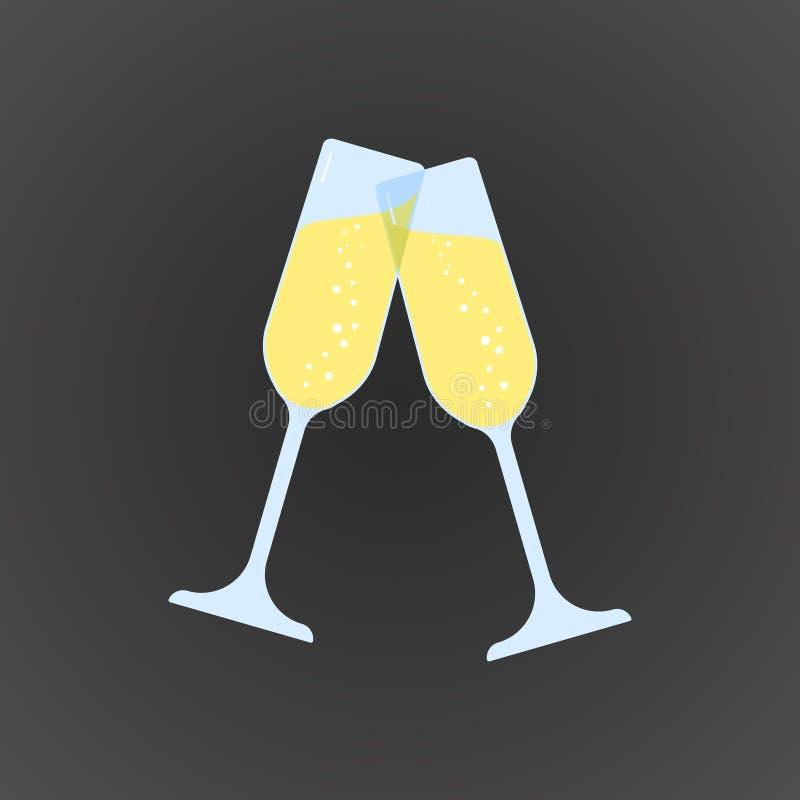 Icono plano coloreado, diseño del vector 2 vidrios de champán con las burbujas stock de ilustración