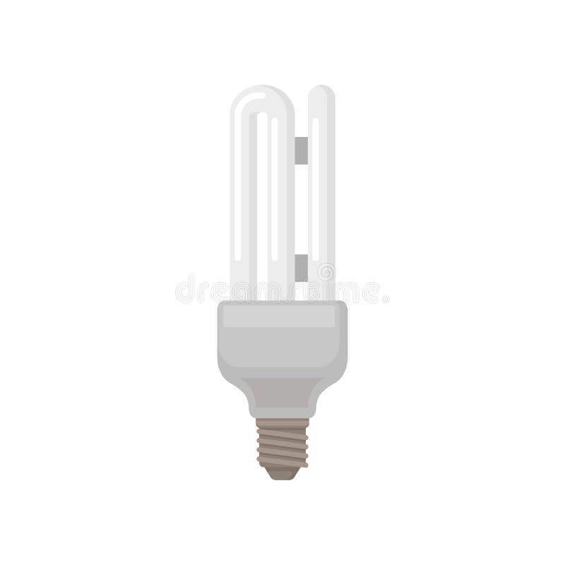 Icono plano colorido del vector de la lámpara fluorescente del tubo doble Bombilla ahorro de energía Elemento para empaquetar libre illustration