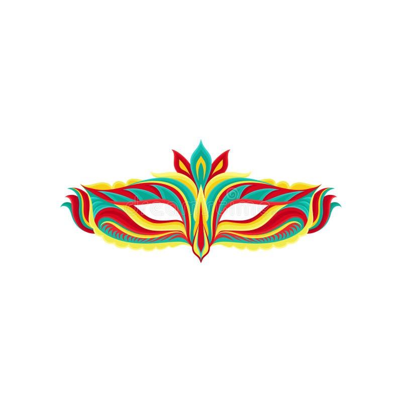 Icono plano colorido del vector de la máscara hermosa de la mascarada Accesorio brillante para el partido del carnaval Elemento d stock de ilustración