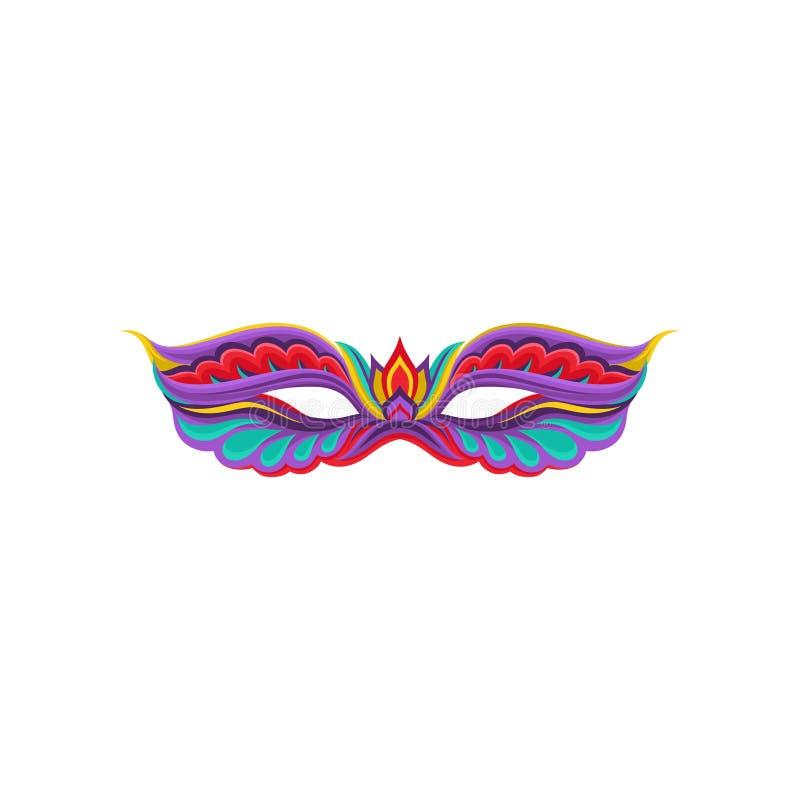 Icono plano colorido del vector de la máscara veneciana brillante de la mascarada Accesorio de lujo para el partido del carnaval  stock de ilustración
