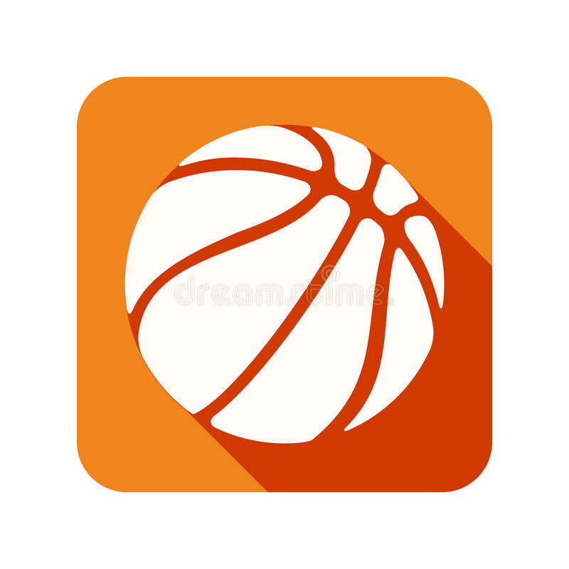 Icono plano con la bola del baloncesto del símbolo stock de ilustración