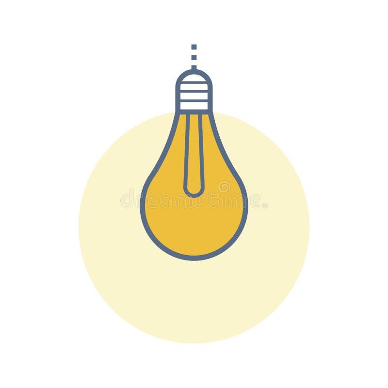 Icono plano con la bombilla que brilla intensamente ilustración del vector