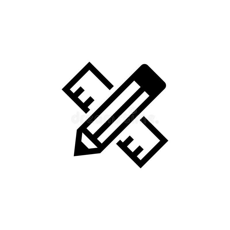 Icono plano cruzado del vector de la regla y del lápiz ilustración del vector