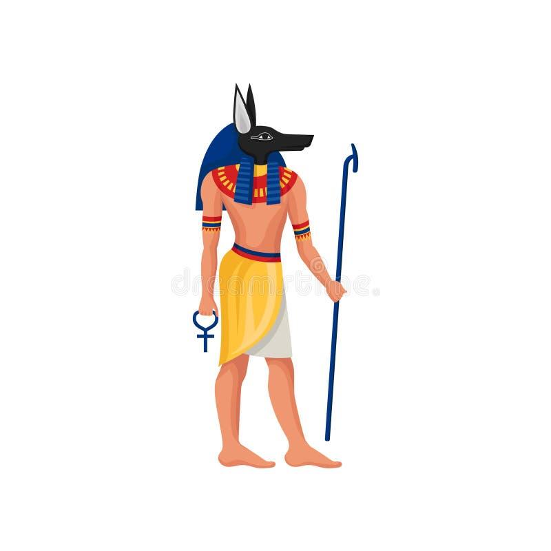 Icono plano de Anubis - dios antiguo del vector de Egipto Hombre con la cabeza del chacal en ropa tradicional con el cetro y Ankh libre illustration