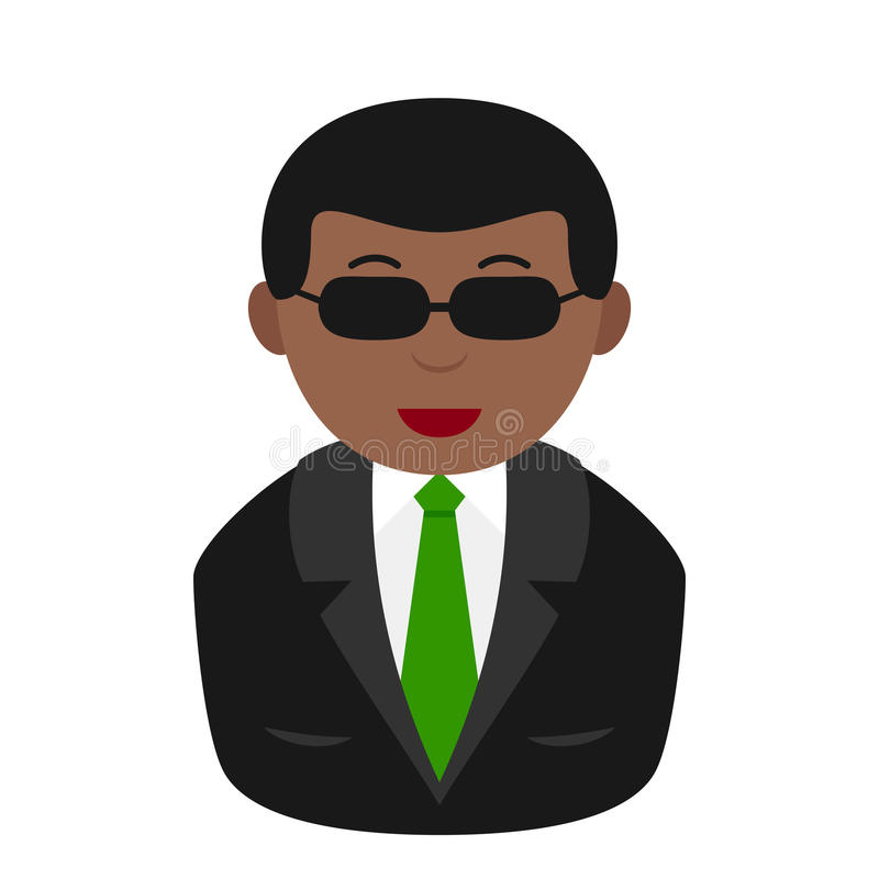 Icono plano de Avatar del magnate negro en blanco libre illustration