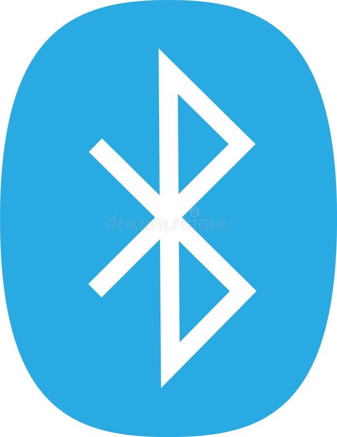 Icono plano de Bluetooth en fondo azul ilustración del vector