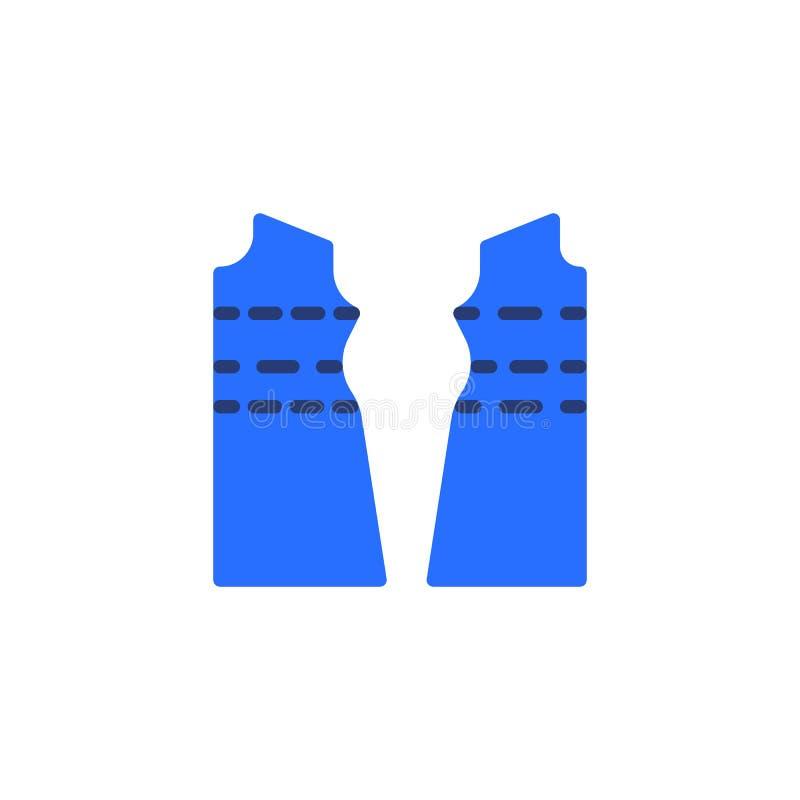 Icono plano de costura del modelo de la tela de la ropa ilustración del vector