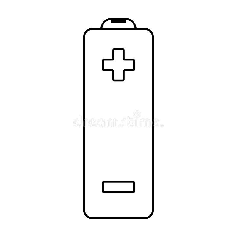 Icono plano de la batería del vector del esquema con el signo de menos más y ilustración del vector