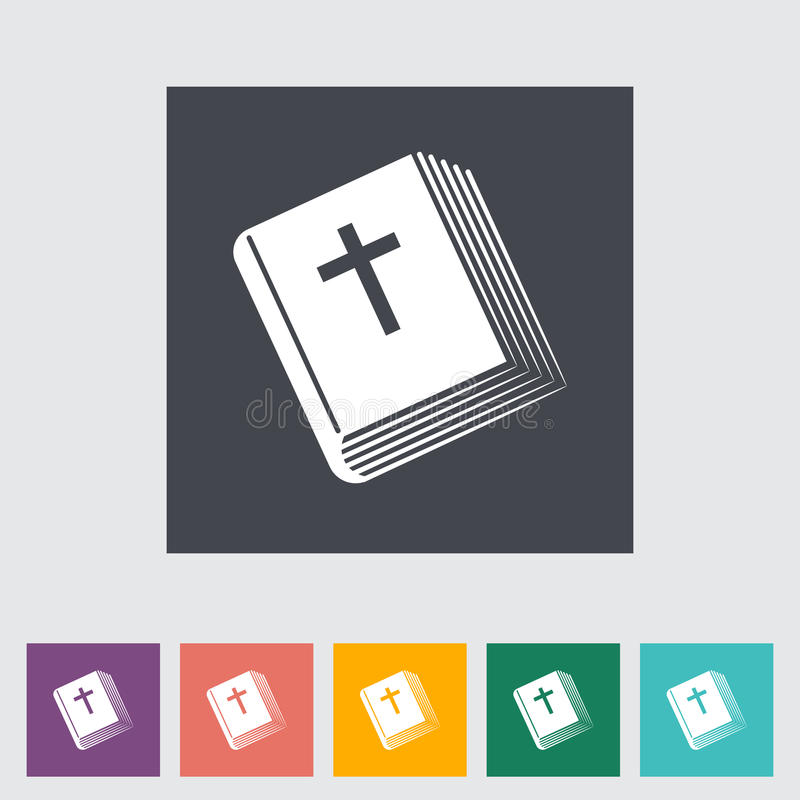 Icono plano de la biblia solo stock de ilustración