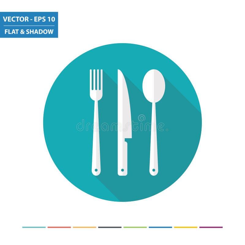 Icono plano de la bifurcación, del cuchillo y de la cuchara libre illustration