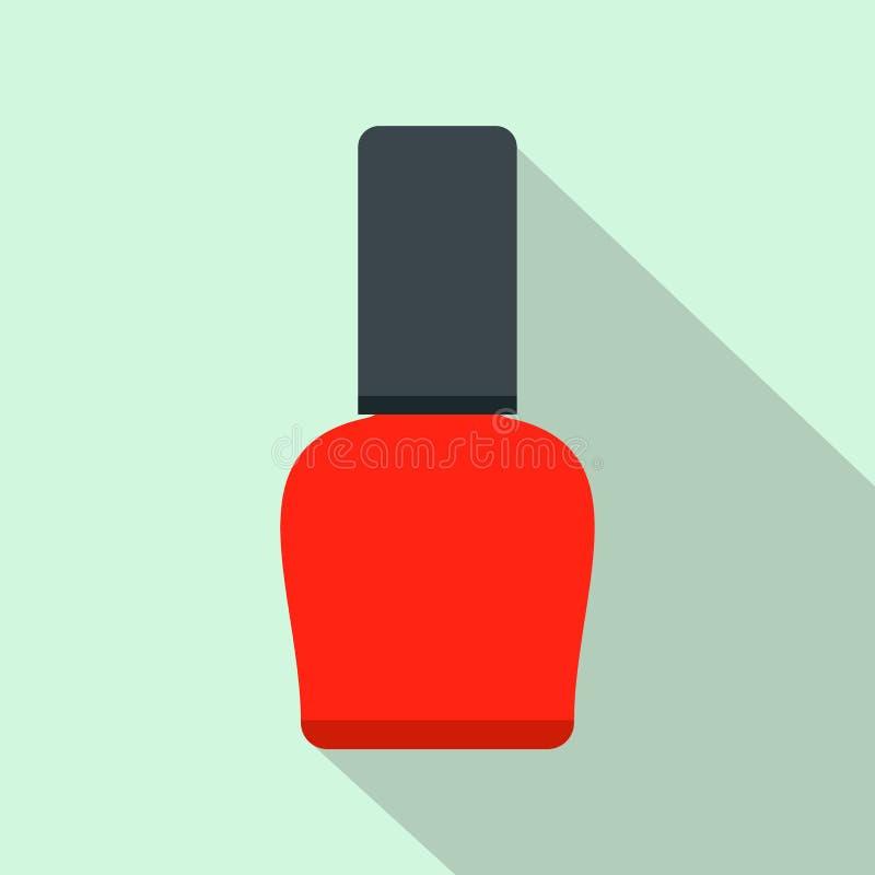 Icono Plano De La Botella Roja Del Esmalte De Uñas Ilustración del ...