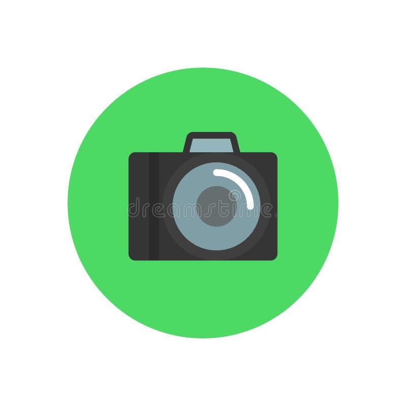 Icono plano de la cámara Botón colorido redondo, muestra circular del vector de la fotografía, ejemplo del logotipo ilustración del vector