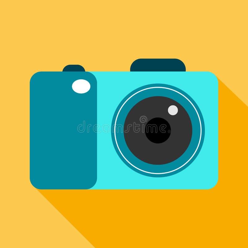 Icono plano de la cámara de la foto con la sombra larga stock de ilustración