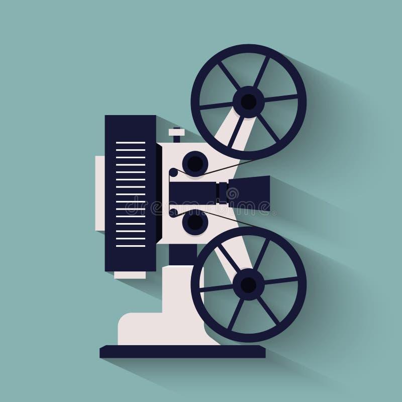 Icono plano de la cámara de película del viejo estilo Proyector retro del cine ilustración del vector