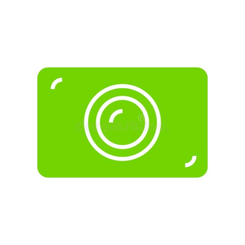 Icono plano de la cámara verde de la foto fotografía de archivo